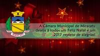 A Câmara Municipal de Miracatu informa sobre recesso e deseja à todos Boas Festas!