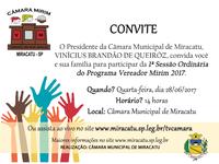 Convite - 1ª Sessão Ordinária dos Vereadores Mirins