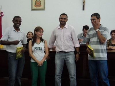 Professores Premiados - Prof. Paulo representando a Profª Luciana do Poeta, e o Prof. Adriano de Sta. Rita