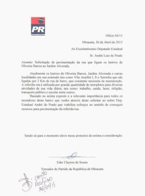 Ofício para o Deputado - Jardim Alvorada