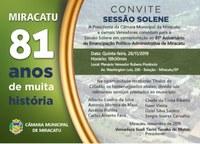 Sessão Solene em comemoração aos 81 anos da Cidade de Miracatu